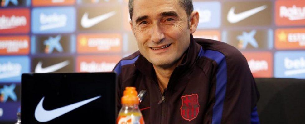 Ernesto Valverde durante la rueda de prensa