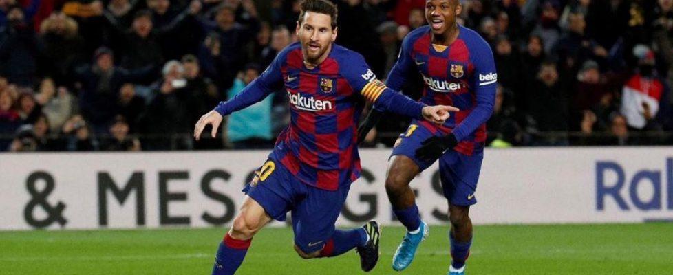 Messi y Ansu Fati celebran el gol de la victoria
