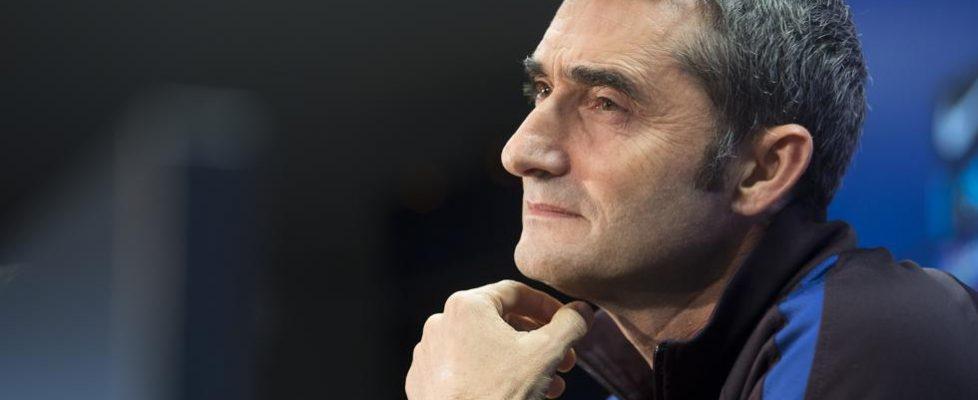 Ernesto Valverde durante la rueda de prensa.