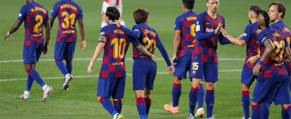 El Barça celebrando el gol.