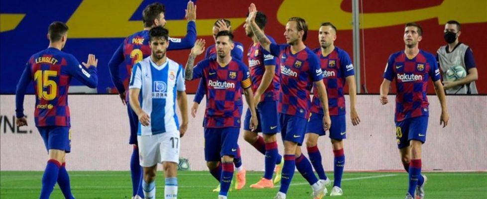 Celebrando el gol de Luis Suárez