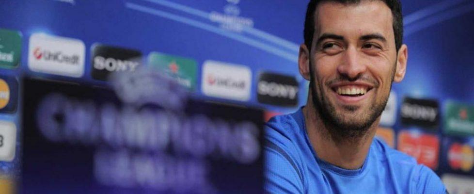 Sergio Busquets durante una rueda de prensa.