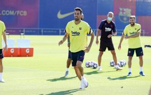 Sergio Busquets durante el entrenamiento.