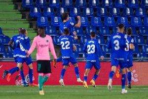 Gol del Getafe. Fuente: Getty Images.