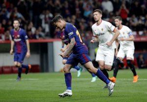 Coutinho ante el Sevilla. Fuente: Getty Images