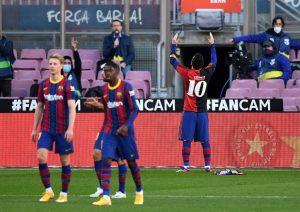 Messi dedica su gol a Maradona. Fuente: Getty Images