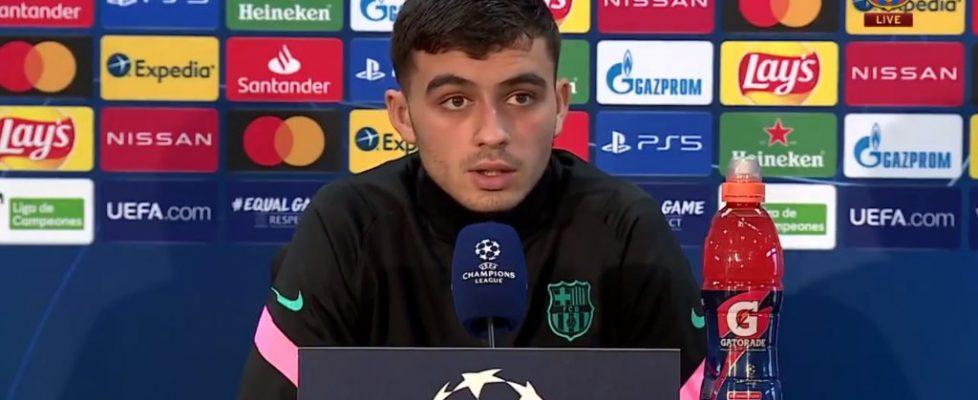 Pedri en la rueda de prensa previa al partido de Champions. Fuente: FC Barcelona