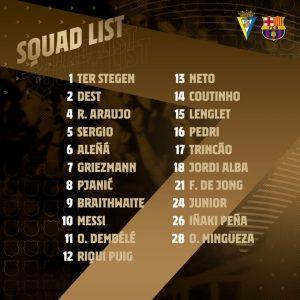 Lista de convocados para jugar contra el Cádiz. Fuente: FC Barcelona