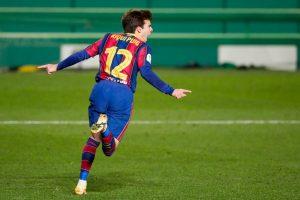 Riqui Puig celebrando un gol en la Supercopa. Fuente: Getty Images
