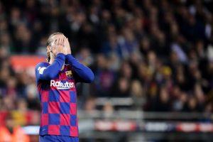 Antoine Griezmann se lamenta tras un fallo. Fuente: Getty Images
