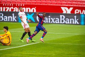 Dembelé abre el marcador frente al Sevilla. Fuente: FC Barcelona