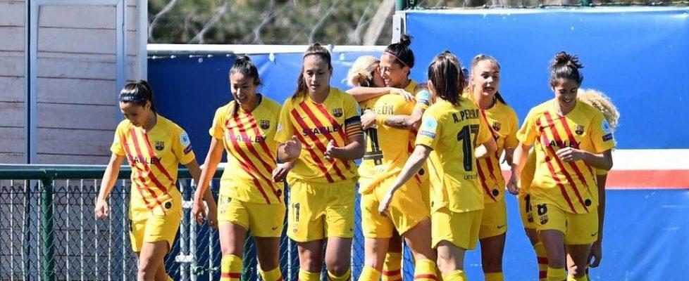 El Barça celebra el gol de Jenni Hermoso. Fuente: Getty Images