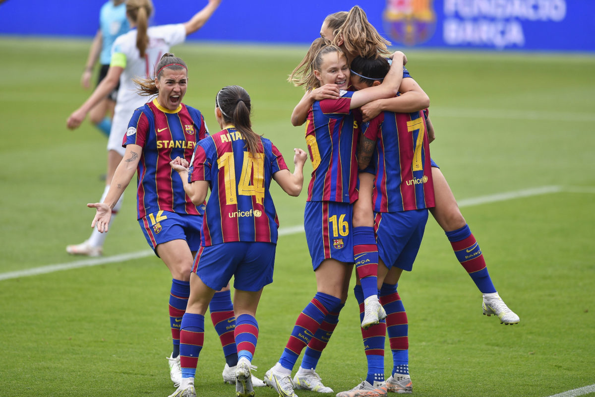 May 2, 2021, Barcelona, Spain: Lieke Martens of FC Barcelona, Barca celebrate a goal during the UEFA Champions League Wo