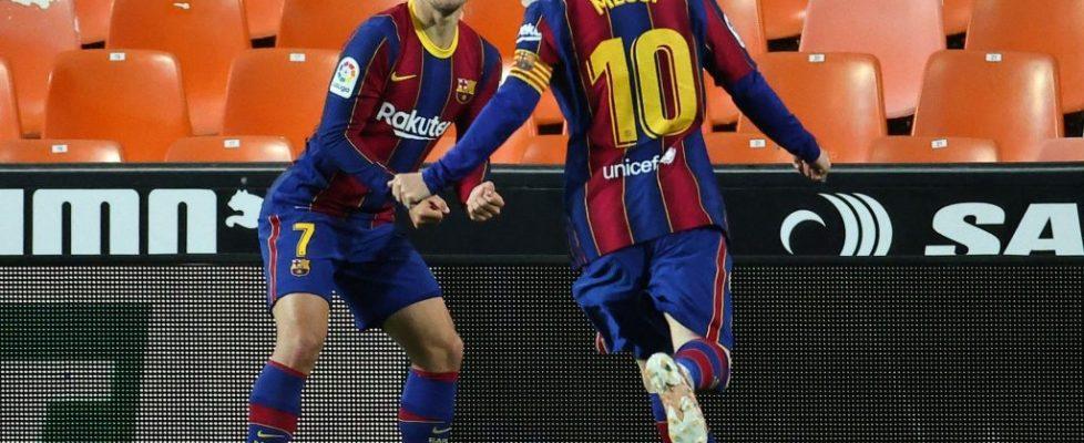 Messi y Griezmann en Mestalla