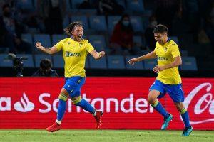El 'Pacha' Espino celebra su gol ante el Celta. Fuente: Getty Images