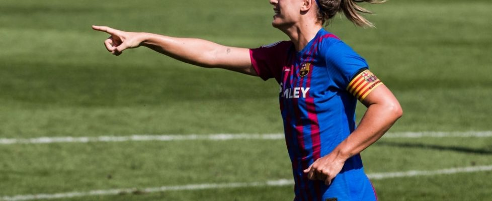 Alexia Putellas celebra un gol ante el Valencia. Fuente: Getty Images