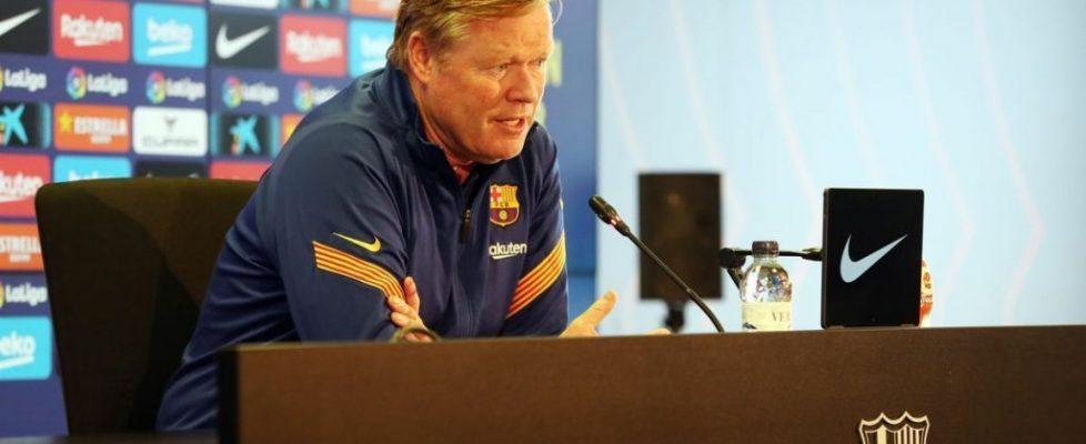 Ronald Koeman durante la rueda de prensa. Fuente: Superdeporte